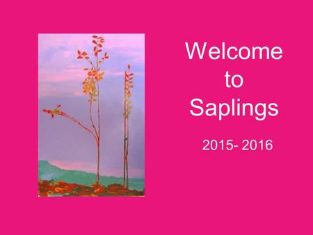 Welcome to Saplings 2015- 2016. The Children 24 children - 9 girls and 15 boys Born in Autumn Term - 9 Born in Spring Term - 6 Born in Summer Term – 9.