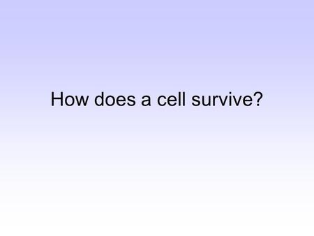 How does a cell survive?.  Everything, from the structure covering the cells to.