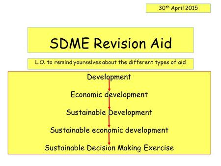 SDME Revision Aid L.O. to remind yourselves about the different types of aid 30 th April 2015 Development Economic development Sustainable Development.