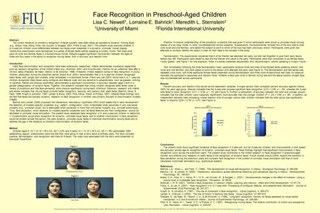 Abstract The current literature on children's recognition of faces typically uses static faces as opposed to dynamic, moving faces (e.g., Brace, Hole,