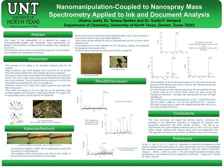 Abstract Conclusions References  The intent of this presentation is to address the usage of nanomanipulation-coupled with nanospray mass spectrometry.