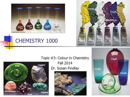 CHEMISTRY 1000 Topic #3: Colour in Chemistry Fall 2014 Dr. Susan Findlay CdS Cr 2 O 3 TiO 2 Mn 3 (PO 4 ) 2 Co 2 O 3 Fe 2 O 3 Co 2 O 3 Cr 2 O 3 Cu 2 O UO.
