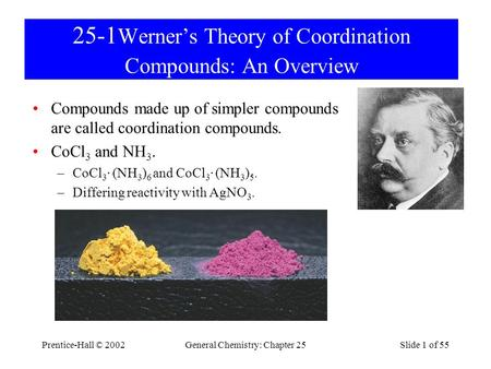 25-1Werner's Theory of Coordination Compounds: An Overview