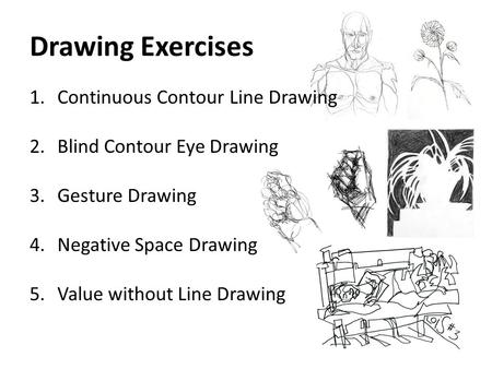 Drawing Exercises 1.Continuous Contour Line Drawing 2.Blind Contour Eye Drawing 3.Gesture Drawing 4.Negative Space Drawing 5.Value without Line Drawing.