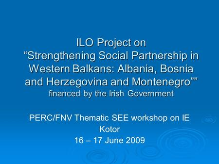 "ILO Project on ""Strengthening Social Partnership in Western Balkans: Albania, Bosnia and Herzegovina and Montenegro"""" financed by the Irish Government."