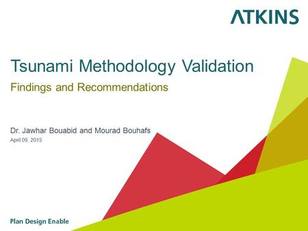 Tsunami Methodology Validation Findings and Recommendations Dr. Jawhar Bouabid and Mourad Bouhafs April 09, 2015.