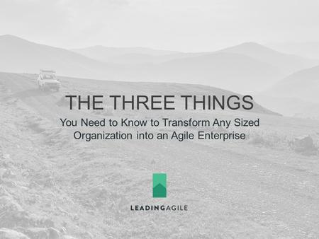 THE THREE THINGS You Need to Know to Transform Any Sized Organization into an Agile Enterprise.