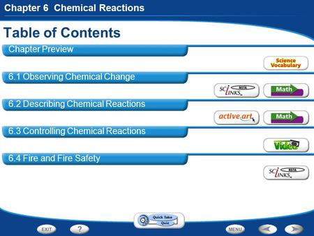 Table of Contents Chapter Preview 6.1 Observing Chemical Change