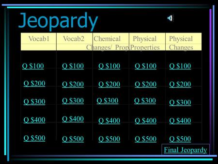 Jeopardy Vocab1Vocab2Chemical Changes/ Prop. Physical Properties Physical Changes Q $100 Q $200 Q $300 Q $400 Q $500 Q $100 Q $200 Q $300 Q $400 Q $500.
