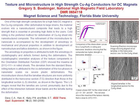 Texture and Microstructure in High Strength Cu-Ag Conductors for DC Magnets Gregory S. Boebinger, National High Magnetic Field Laboratory DMR 0654118 Magnet.
