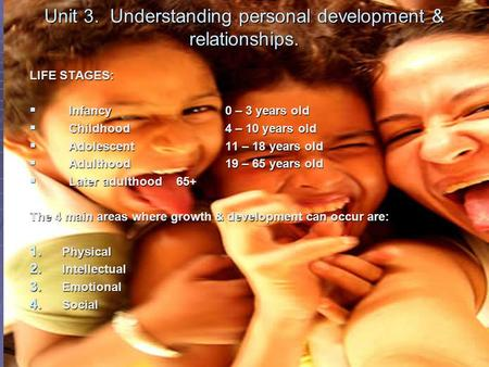 Unit 3. Understanding personal development & relationships. LIFE STAGES:  Infancy0 – 3 years old  Childhood4 – 10 years old  Adolescent11 – 18 years.