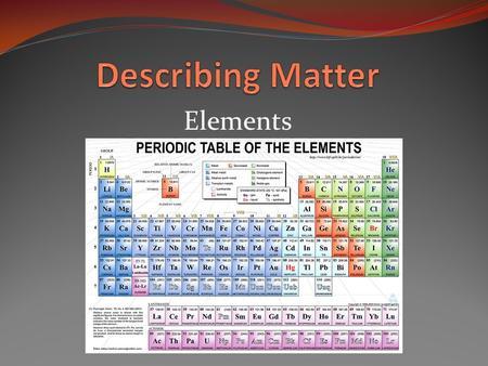 Elements. What is an element? Element: Is a pure substance that cannot be broken down into other substances by chemical or physical means. Gold( Au) Silver(AG)