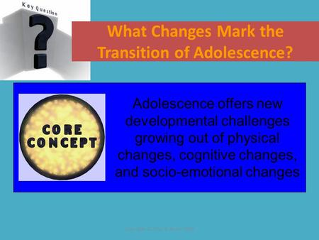 Copyright © Allyn & Bacon 2007 What Changes Mark the Transition of Adolescence? Adolescence offers new developmental challenges growing out of physical.