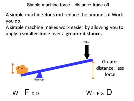 Simple machine force – distance trade-off: A simple machine does not reduce the amount of Work you do. A simple machine makes work easier by allowing you.
