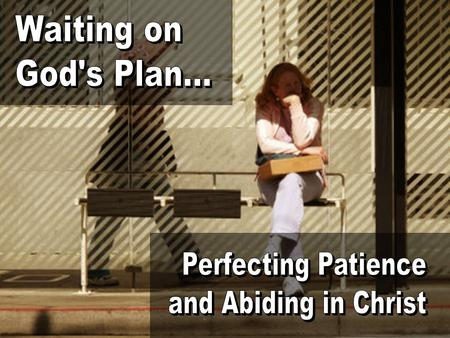Waiting on God's Plan... Perfecting Patience and Abiding in Christ.