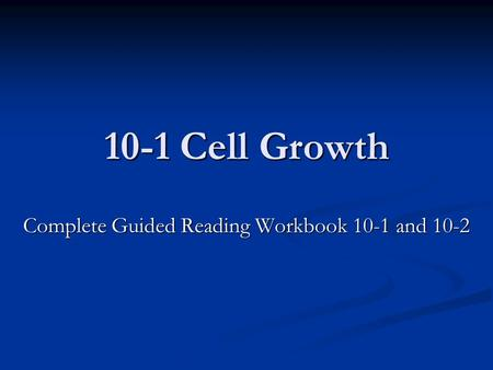 Complete Guided Reading Workbook 10-1 and 10-2