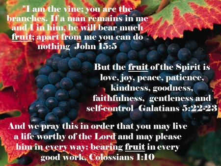 I am the vine; you are the branches. If a man remains in me and I in him, he will bear much fruit; apart from me you can do nothing John 15:5 But the.