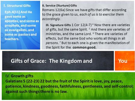 What's Your Message? Gifts of Grace: The Kingdom and You I. Structural Gifts Eph.4(11) And He gave some as apostles, and some as prophets, and some as.