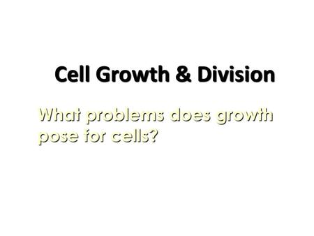 Cell Growth & Division What problems does growth pose for cells?