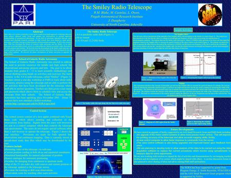 The Smiley Radio Telescope R.M. Blake, M. Castelaz, L. Owen, Pisgah Astronomical Research Institute J. Daugherty University of North Carolina Asheville.