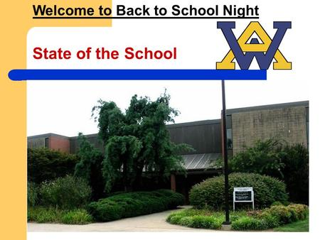 State of the School Welcome to Back to School Night.