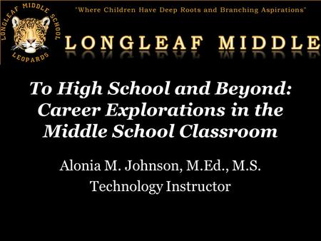To High School and Beyond: Career Explorations in the Middle School Classroom Alonia M. Johnson, M.Ed., M.S. Technology Instructor.