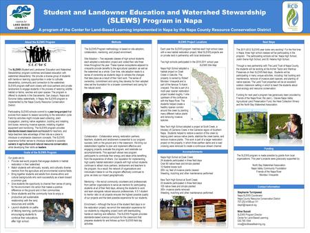 TEMPLATE DESIGN © 2008 www.PosterPresentations.com Student and Landowner Education and Watershed Stewardship (SLEWS) Program in Napa A program of the Center.