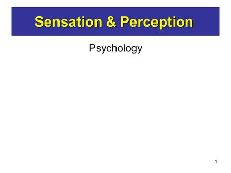 1 Psychology Sensation & Perception. 2 Would we be over - stimulated? Would we EXPLODE ? Sensation & Perception What if we attended to and processed all.