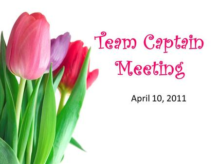 Team Captain Meeting April 10, 2011. Please Remember to... Turn in all Fundraising Money Turn in T-shirt Rosters Turn in Registration Forms Turn in Photos.