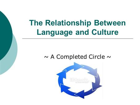 The Relationship Between Language and Culture ~ A Completed Circle ~