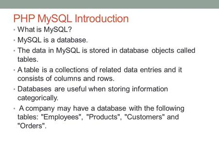 PHP MySQL Introduction