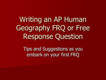 ap human geography essay questions Ap human geography draft essential question(s): write an essay explaining the history of that conflict ap human geography page 6 of 10.