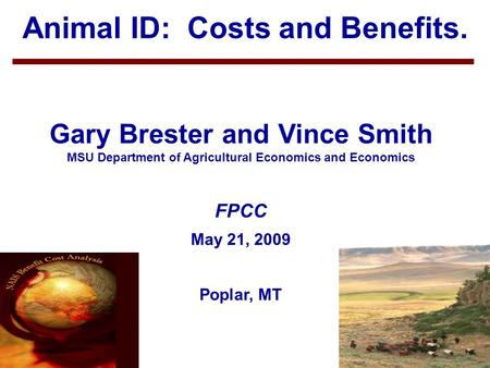 1 Animal ID: Costs and Benefits. Gary Brester and Vince Smith MSU Department of Agricultural Economics and Economics FPCC May 21, 2009 Poplar, MT.