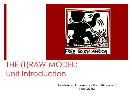 THE (T)RAW MODEL: Unit Introduction Resistance, Accommodation, Withdrawal, TRANSORM!