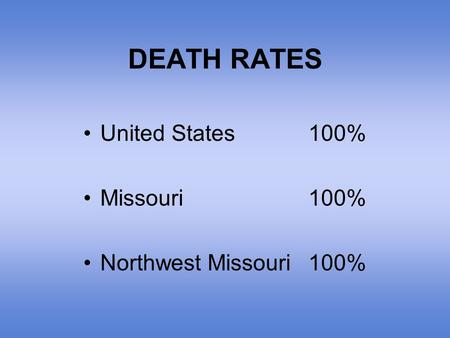 DEATH RATES United States100% Missouri100% Northwest Missouri100%
