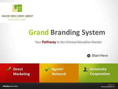 © MediaInteractive Grand Branding System Your Pathway to the Chinese Education Market Contact Us www.grandeducom.cn Start Here Agents' Network University.