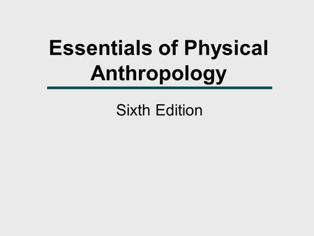Essentials of Physical Anthropology Sixth Edition.