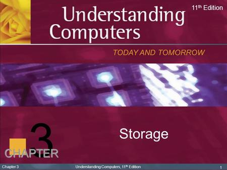 3 Storage TODAY AND TOMORROW 11 th Edition CHAPTER 1 Chapter 3 Understanding Computers, 11 th Edition.