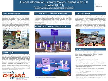 Global Information Literacy Moves Toward Web 3.0 by Valerie Hill, PhD by Valerie Hill, PhD TWU School of Library & Information Studies, LISD School Librarian.