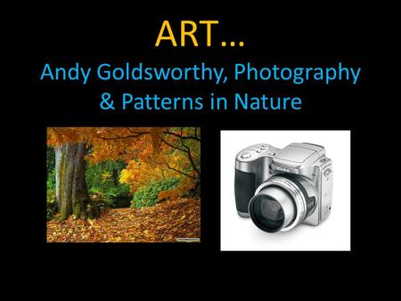 ART… Andy Goldsworthy, Photography & Patterns in Nature.