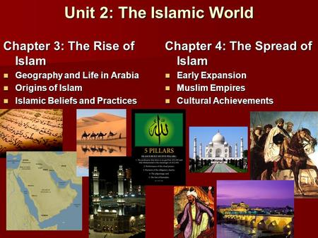 Unit 2: The Islamic World Chapter 3: The Rise of Islam Geography and Life in Arabia Geography and Life in Arabia Origins of Islam Origins of Islam Islamic.