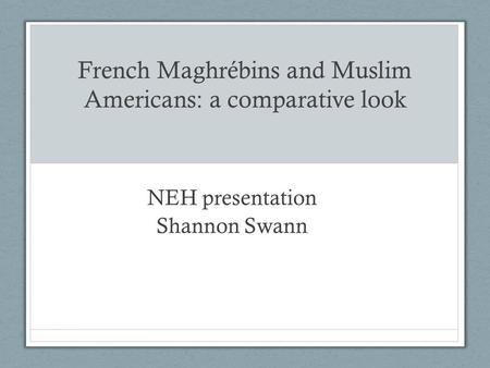 French Maghrébins and Muslim Americans: a comparative look NEH presentation Shannon Swann.