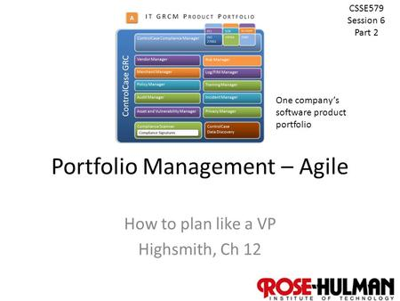 1 Portfolio Management – Agile How to plan like a VP Highsmith, Ch 12 CSSE579 Session 6 Part 2 One company's software product portfolio.