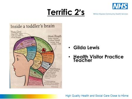 High Quality Health and Social Care Close to Home 1 Terrific 2 ' s Gilda Lewis Health Visitor Practice Teacher.