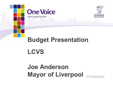 Budget Presentation LCVS Joe Anderson Mayor of Liverpool.