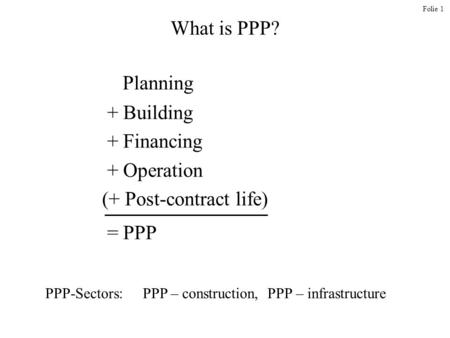 (+ Post-contract life) = PPP