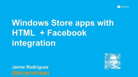 Windows Store apps with HTML + Facebook integration