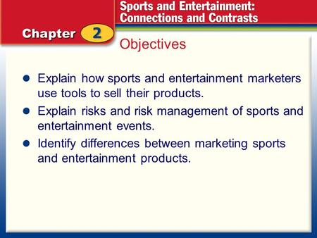 Objectives Explain how sports and entertainment marketers use tools to sell their products. Explain risks and risk management of sports and entertainment.