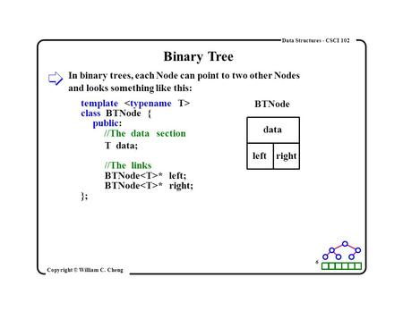 Data Structures - CSCI 102 Binary Tree In binary trees, each Node can point to two other Nodes and looks something like this: template class BTNode { public: