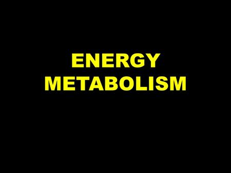 ENERGY METABOLISM. The study of how the body uses, stores and burns energy Carbohydrates Fats Proteins.